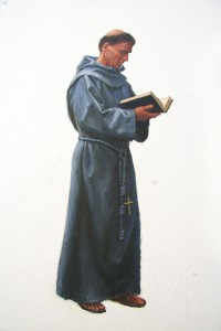 National Park Service illustration of a member of the Order of Friars Minor in grey sackcloth habit, with cord and crucifix.